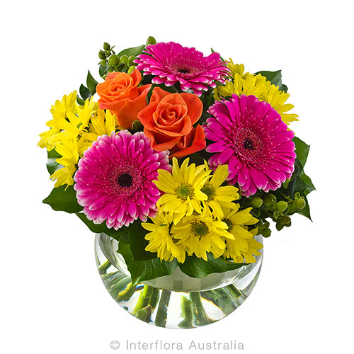 706 Bright Bouquet in a Fishbowl Vase