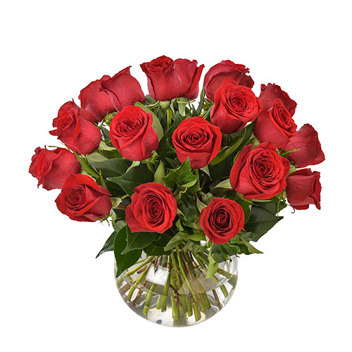 So lovely AUS 461 24 red roses in glass vase