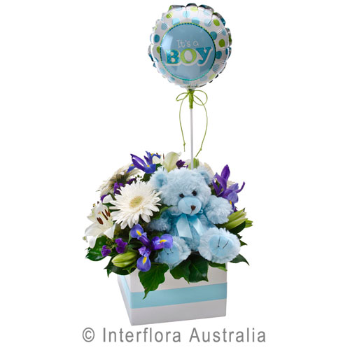 315-Flower-Box-with-a-Teddy-Bear-and-Balloon